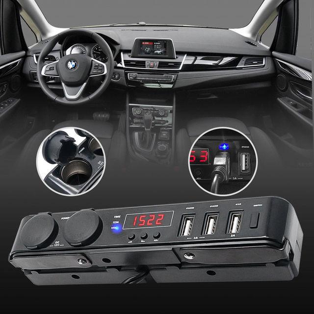 Multi function Car USB Charger Cigarette Lighter Socket +Thermometer +Voltmeter