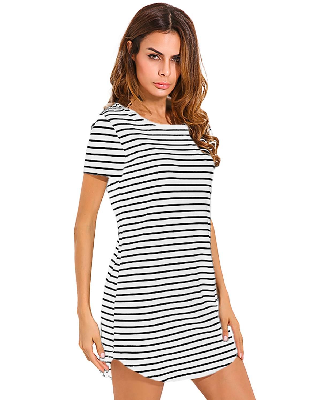 2019 Summer Dresses Women ZANZEA Fashion Casual Straight Sexy Black White Striped Round Neck Short Sleeve Mini Short Shirt Dress