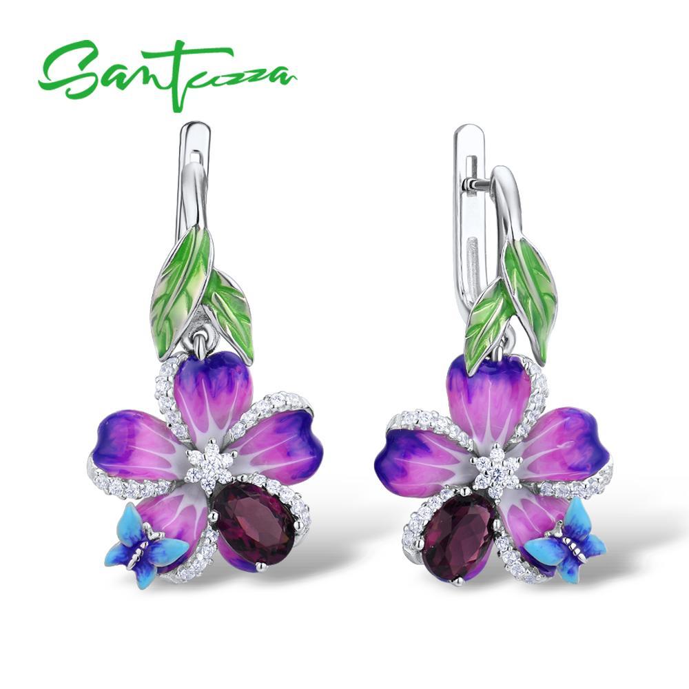 SANTUZZA Silver Earrings For Women Genuine 925 Sterling Silver Purple Flower Butterfly Earrings Fashion Jewelry Handmade