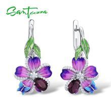 Santuzza 女性のための本物の 925 スターリングシルバー紫の花蝶イヤリングファッションジュエリー手作りエナメル