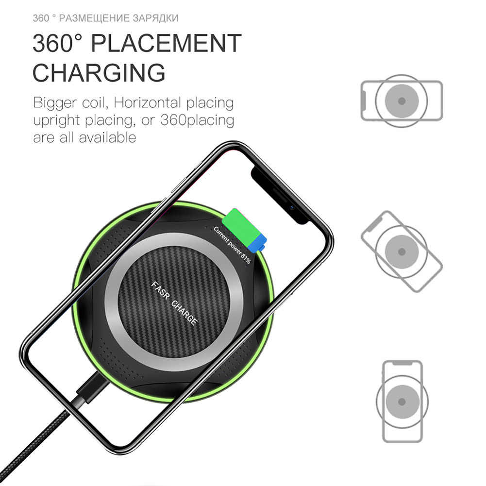 10W Qi Wireless Charger For Samsung Note 10 Plus S10S9S7