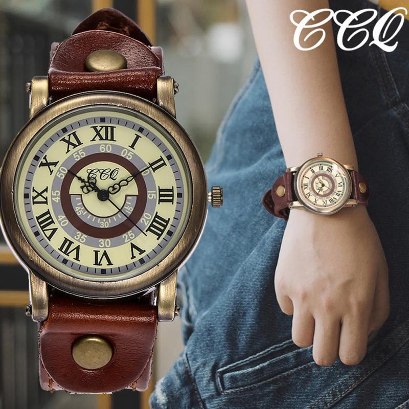 CCQ Male Female PU Leather Strap Watch Roman Numerals Quartz Wristwatch