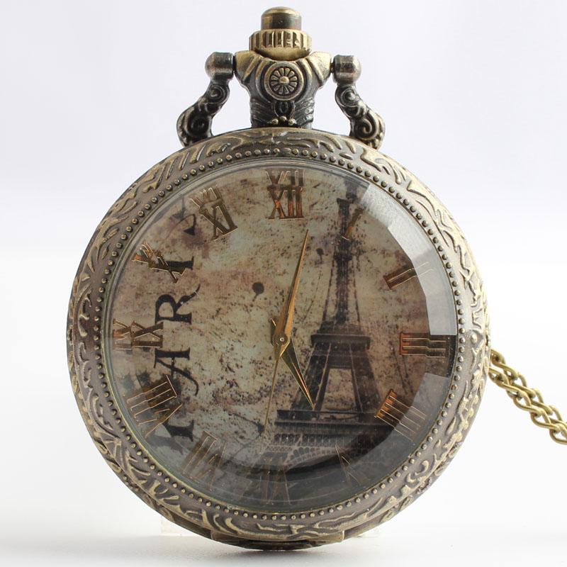 Pocket & Fob Watches Vintage Bronze Paris Eiffel Tower Design  Quarzt Pocket Watch with Neckace Pendant for Men/women Gift