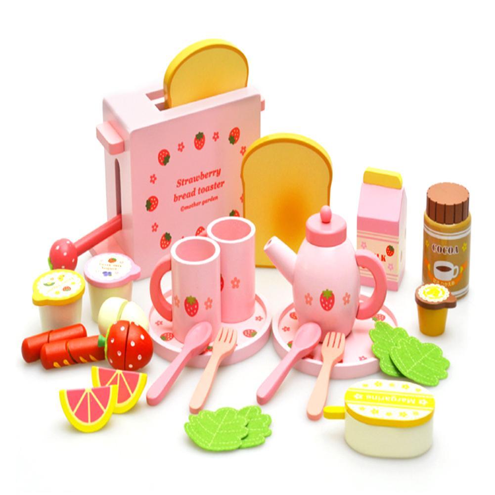 Ensemble complet de jouets de cuisine en bois Machine à pain avec de jolis plats et cuillères ensemble de thé modèle de lait et de Fruits pour les enfants