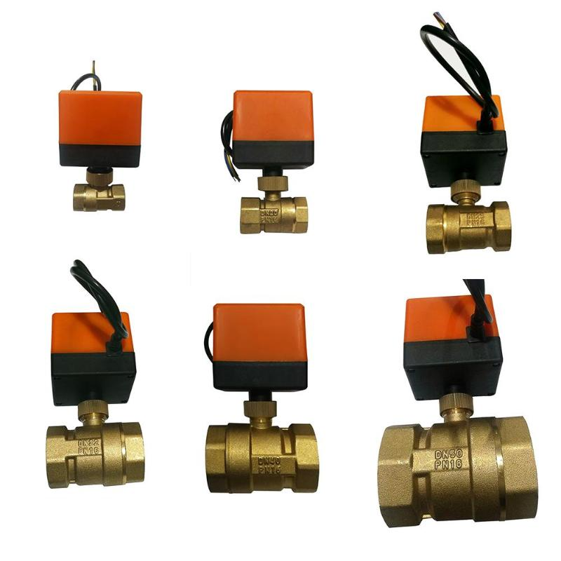Electric Ball Valve DC12V AC220V DN15-50 3-wire 2-way Control Brass Thread Electric Ball Valve Stable Motorized Ball Valve