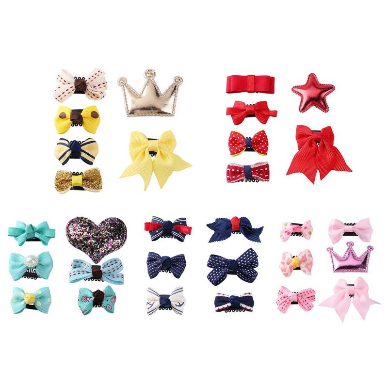 JOCESTYLE 6pcs/Set Newborn Baby Girls Cute Bowknot Barrettes Children Princess Party Hair Clip Hairpins Headwear Christmas Gifts