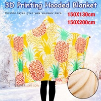 3D Tropical Plant Pineapple Hooded Blanket Sherpa Fleece Ocean Blue Wearable Plush Throw Blanket on Bed Sofa Thick Warm Winter