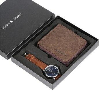 Luxury Gift Set Male Wristwatches Leather Wallet Father Boyfriend Birthday Anniversary Present Men Quartz Watch Simple Design