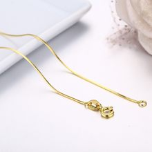 35cm-60cm Thin Slim Octagon Snake Chains Long Necklace Women Kids Girls Jewelry Real 925 Sterling Silver Gold Color Kolye Colier(China)