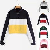 2018 Autumn Cross Border AliExpress EBay Amazon New Style Zip Sweatshirt Long Sleeve Contrasting Color Ribbon Top Female