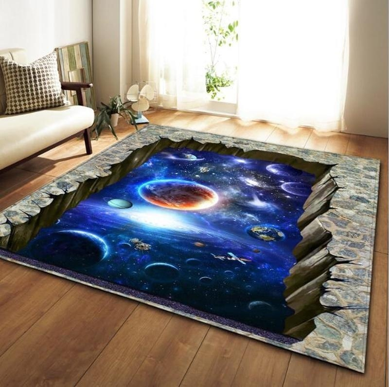 8 Styles 3D Planet Printed Area Rugs For Living Room Bedroom Anti-slip Sofa Floor Mat Fashion Kitchen Carpet Yoga Mat Home Decor