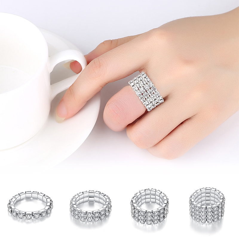 Elastic-Rings Jewelry Crystal Bright-Silvery Hot-Sale Women Full for Shining