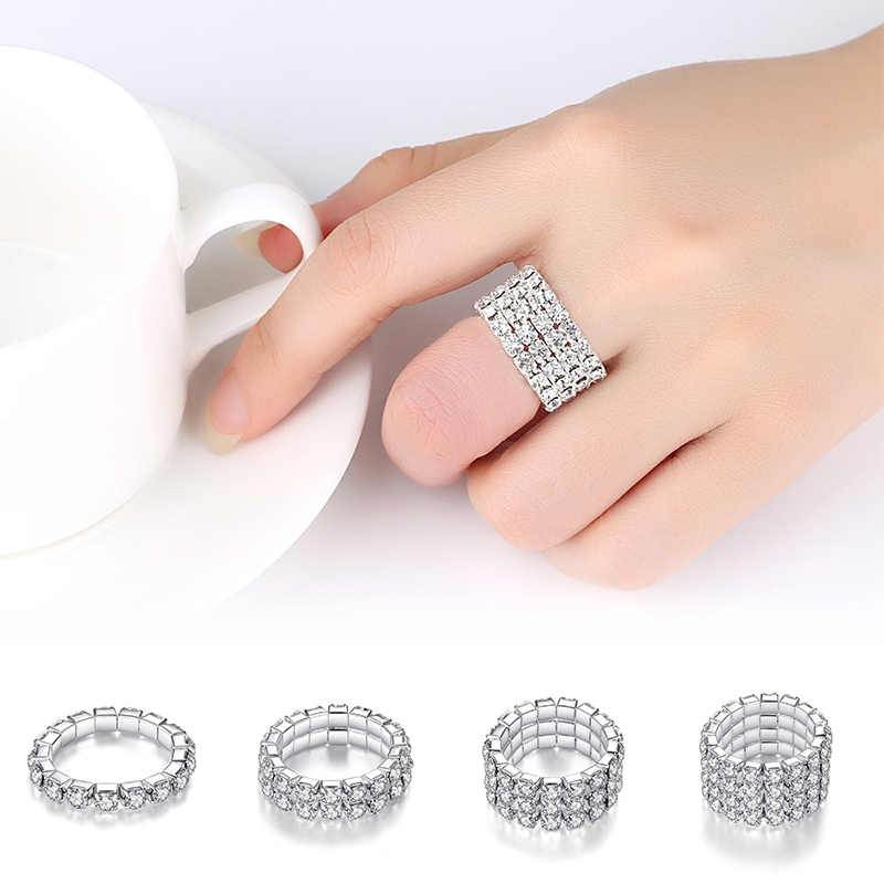 Hot Sale Bright Silvery Shining Elastic Rings Full Crystal Finger Rings for Women Jewelry