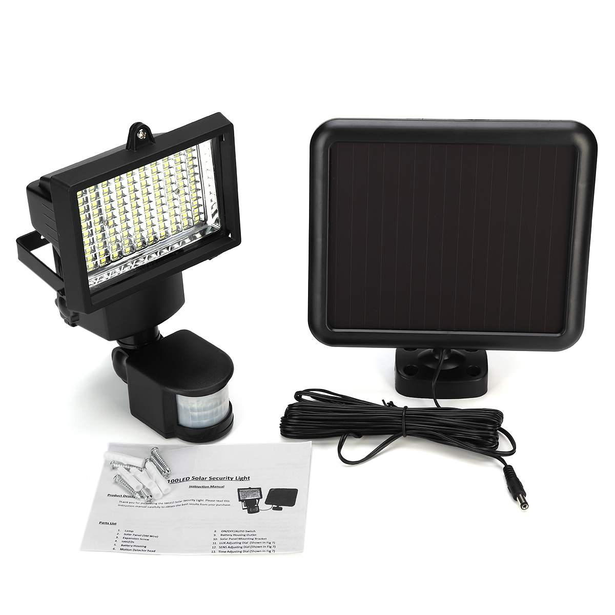100 LED Solar Power PIR Motion Sensor Outdoor Garden Light Security Flood Lights