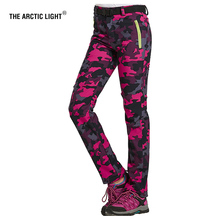 THE ARCTIC LIGHT Hiking Camping Skiing Pants Outdoor Traverse  Soft shell Trousers Camouflage Windproof Keep Warm For Women