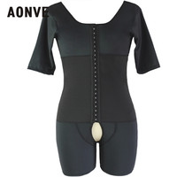 Aonve Men Bellies Shaping Body Shaper Plus Size Bodysuit Hombre Black Shapewear Short Sleeve Butt Lifter Bodysuits S 6XL