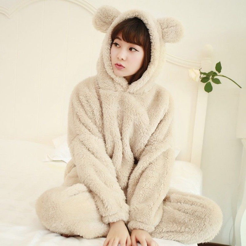 Women Flannel   Pajamas     Set   Bear Hooded   Pajamas   Winter Warm Coral Fleece Sleepwear