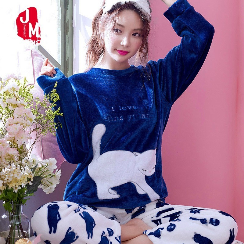 Autumn Winter Women Pyjamas Sets Thick Warm Coral Velvet Sleepwear Suit Flannel Long Pijama Mujer Cartoon Letter Animal Pajamas