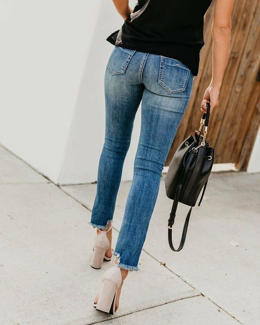 Newest Hot Women Stretch Ripped Distressed Skinny High Waist Denim Pants Shredded Jeans Trousers 3