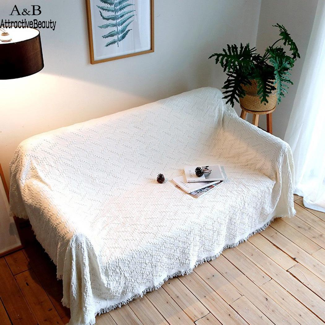 Solid Simple Style Blanket Cotton Rug Sofa Bed Tassel Square Living Room Home White Carpet