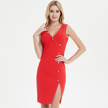 Uguest New Arrival Orange Red Women Dress Elegant Solid Sleeveless Lady Sexy