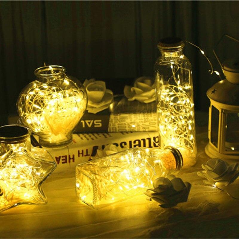10 LED Solar Powered Wine Bottle Cork Shaped LED Light Copper Garland Festoon Wire String Lights Christmas Holiday Decoration