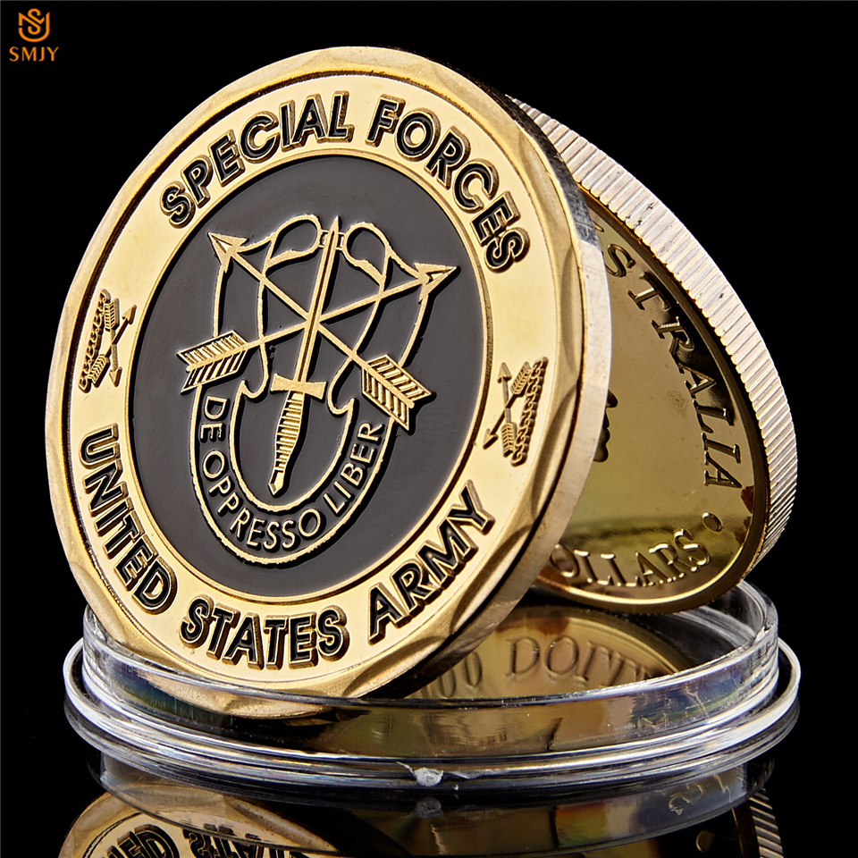 US Army Green Beret De Oppresso Liber Liberate From Oppression USA Special Forces Gold Plated Challenge Coin Collection