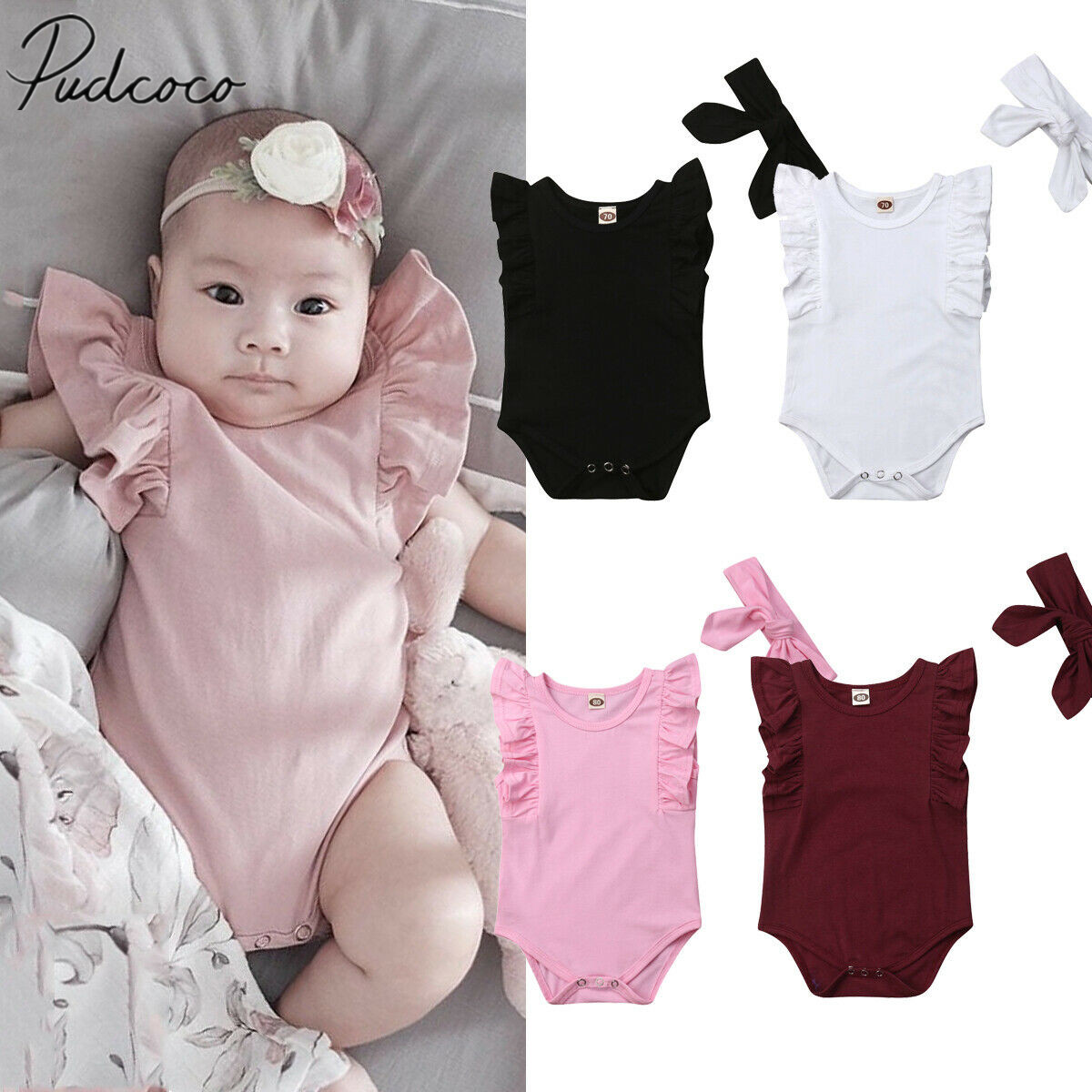 885f36982874 2019 Brand New Newborn Infant Baby Girls Boys Ruffle Solid Bodysuit  Sleeveless Sunsuit Cotton Jumpsuit Outfit Clothes Summer