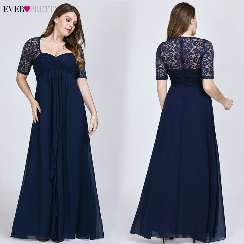 Plus Size Mother Of The Bride Dresses Ever Pretty Navy Blue Lace Formal Wedding Party Dress EZ07625 Abito Mamma Sposa Taffeta