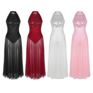 Image 2 - TiaoBug 女性ノースリーブホルターシャイニースパンコールバレエレオタード大人のステージ叙情的なダンス衣装バレエチュチュマキシメッシュダンスドレス