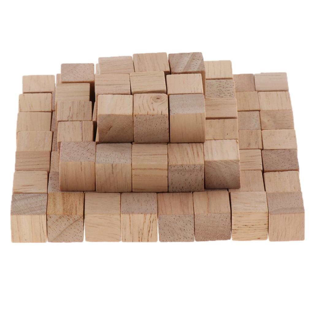 100 peças de madeira cubos quadrados inacabados blocos de madeira para fazer a matemática artesanato projetos diy presente