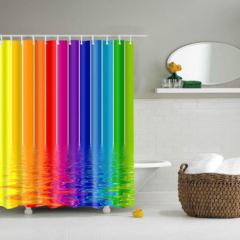Красочные в радужную полоску узор занавески для ванной комнаты Водонепроницаемый полиэстер экологичный душевая Шторы s20