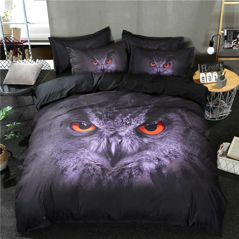 Black cat black owl Digital print Bedding Set Quilt Cover Design Bed Set Bohemian a Mini Van Bedclothes 3pcs BE1252