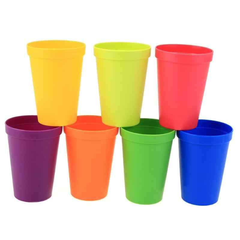 5534117919d 7Pcs/lot 7 Color Portable Rainbow Suit Cup Picnic Tourism Plastic Cup Coffee  Household Cups