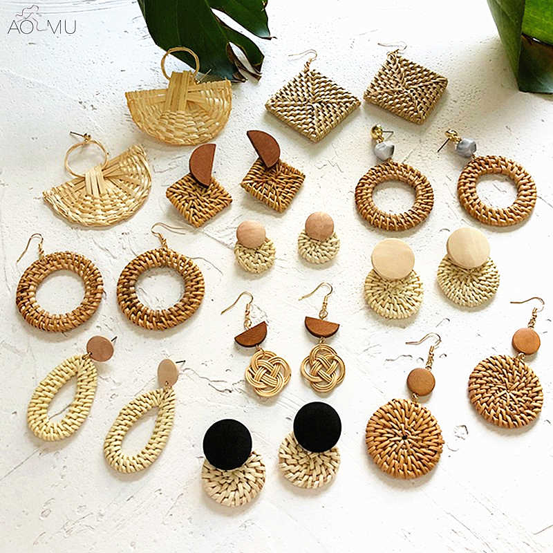 2019 New Korea Handmade Straw Braid Woven Rattan Vine Wood Geometric Large Circle Square Long Drop Earrings For Woman Girl S06