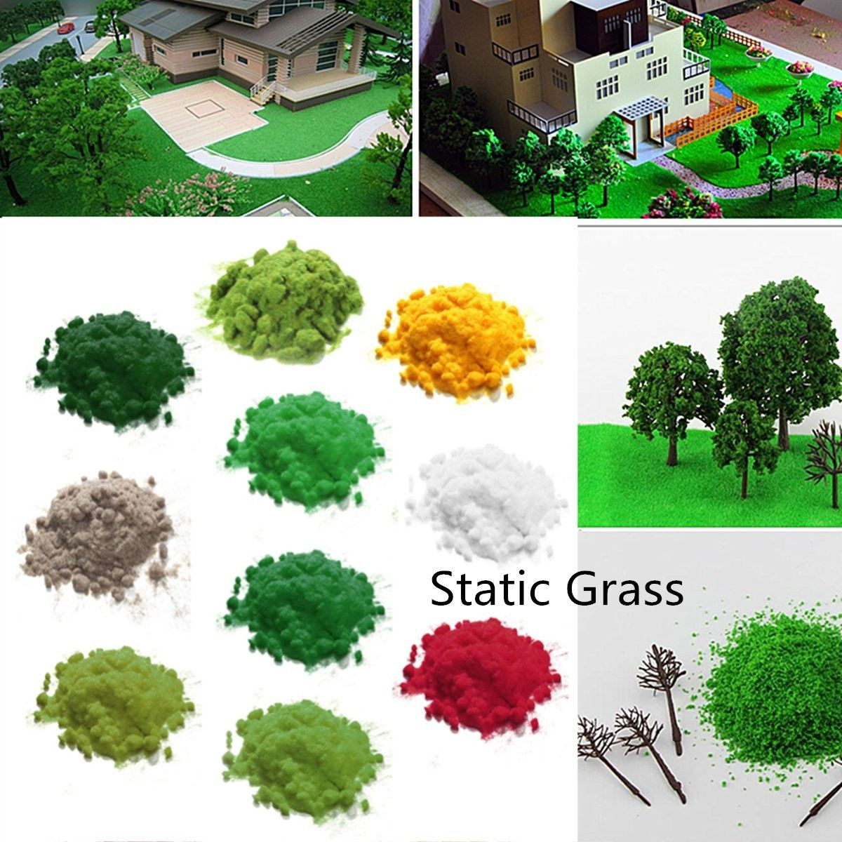 Miniature Scene Model O HO N Scale Model Green Turf Flock LawnGrass Powder STATIC GRASS 30g 2MM Modeling Hobby Craft Accessory