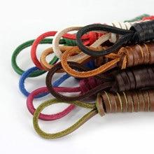1 paire de lacets carrés en cuir véritable unisexe, Vintage, longueur de chaussure 80cm