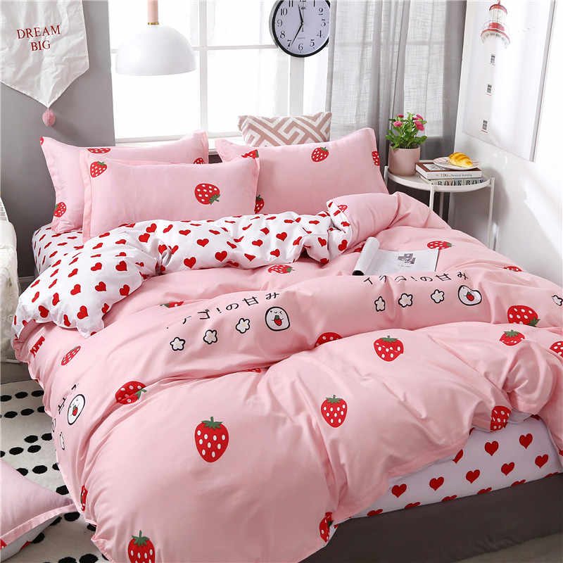 4pcs/set High Quality Comfortable Pink World Printing Family Bedding Set Bed Linings Duvet Cover Bed Sheet Pillowcases 51