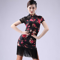 2019 New Arrival Real Cotton Polyester Women Latin Skirt Latin Dance Costume For Female Adults Dress Short Sleeve
