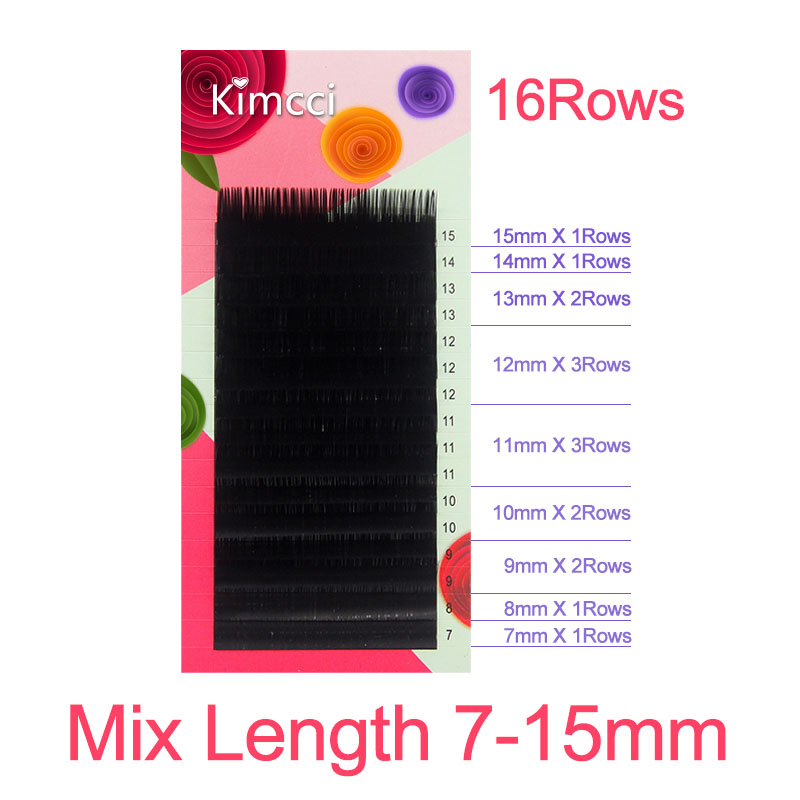 Kimcci 6Rows/Case 7~15mm Mix In One Tray Natural Synthetic Mink Individual Eyelash Extension Makeup Cilia Professional Use Cilio
