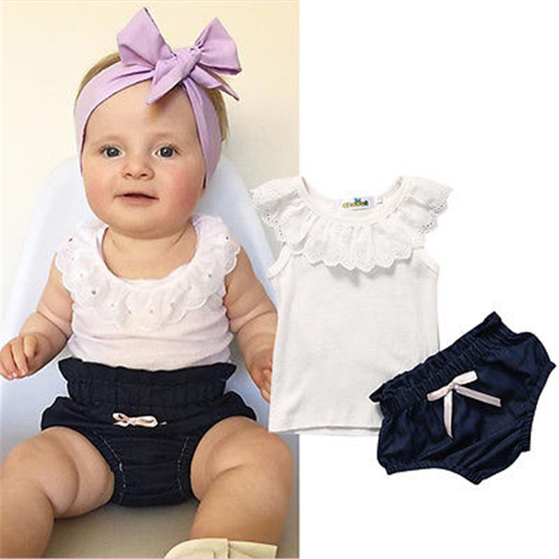 Demin Shorts Dress+Headband Outfits Toddler Baby Girl Lace Ruffled Top Shirt