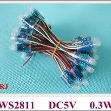 Водонепроницаемый IP67 WS 2811 цифровая светодиодная лента светодиодный пиксель светильник Модуль светодиодный гирлянда с открытым светом RGB светодиодный пиксель светильник DC5V 0,3 W WS2811
