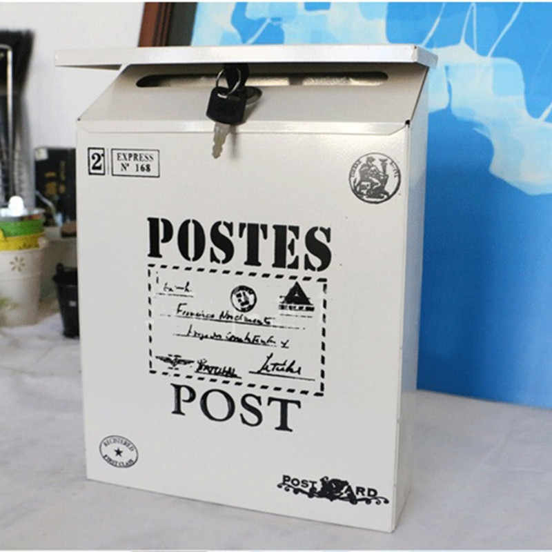 Металлический почтовый ящик 4 цвета винтажные металлические жестяные газета письмо почтовый ящик водонепроницаемый почтовый ящик запирающийся ящик садовый орнамент