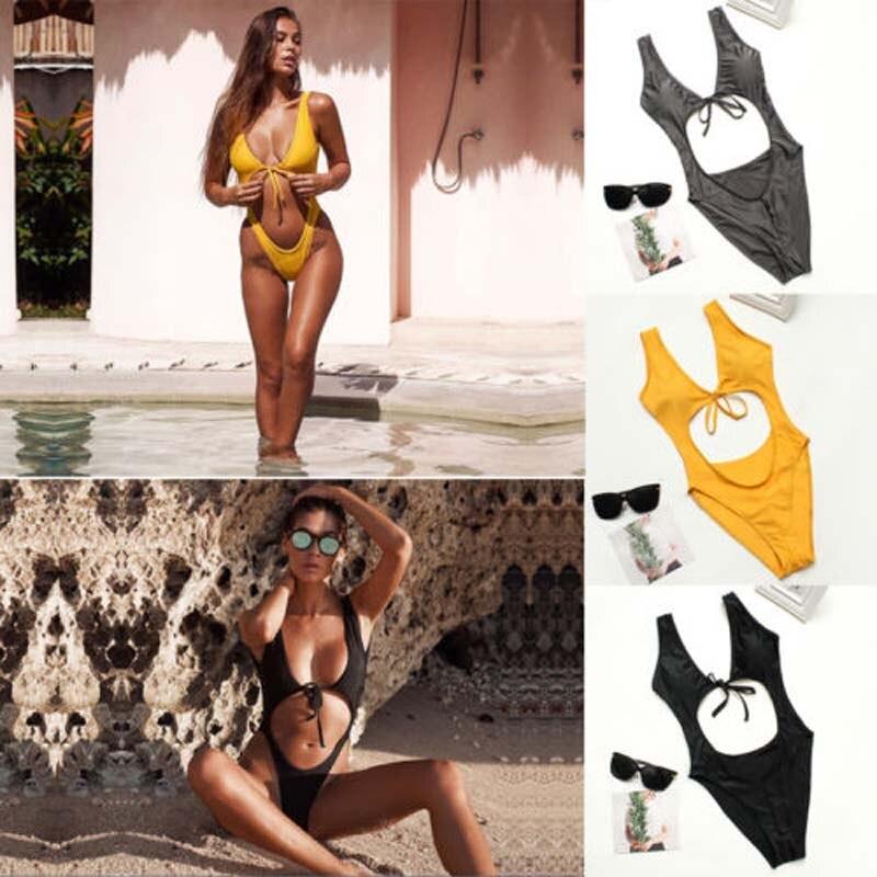 Sexy Women One-Piece Swimsuit Swimwear 2020 New Summer Solid Bandage Hollow Out Push-up Monokini Backless Bathing Suit Beachwear