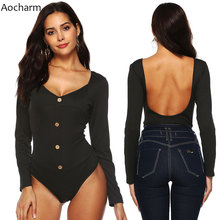Aocharm Sexy Bodysuit Women Black Stretch Ribbed Backless Autumn Slim Button Rompers Womens Jumpsuit Winter Basic Bodysuits