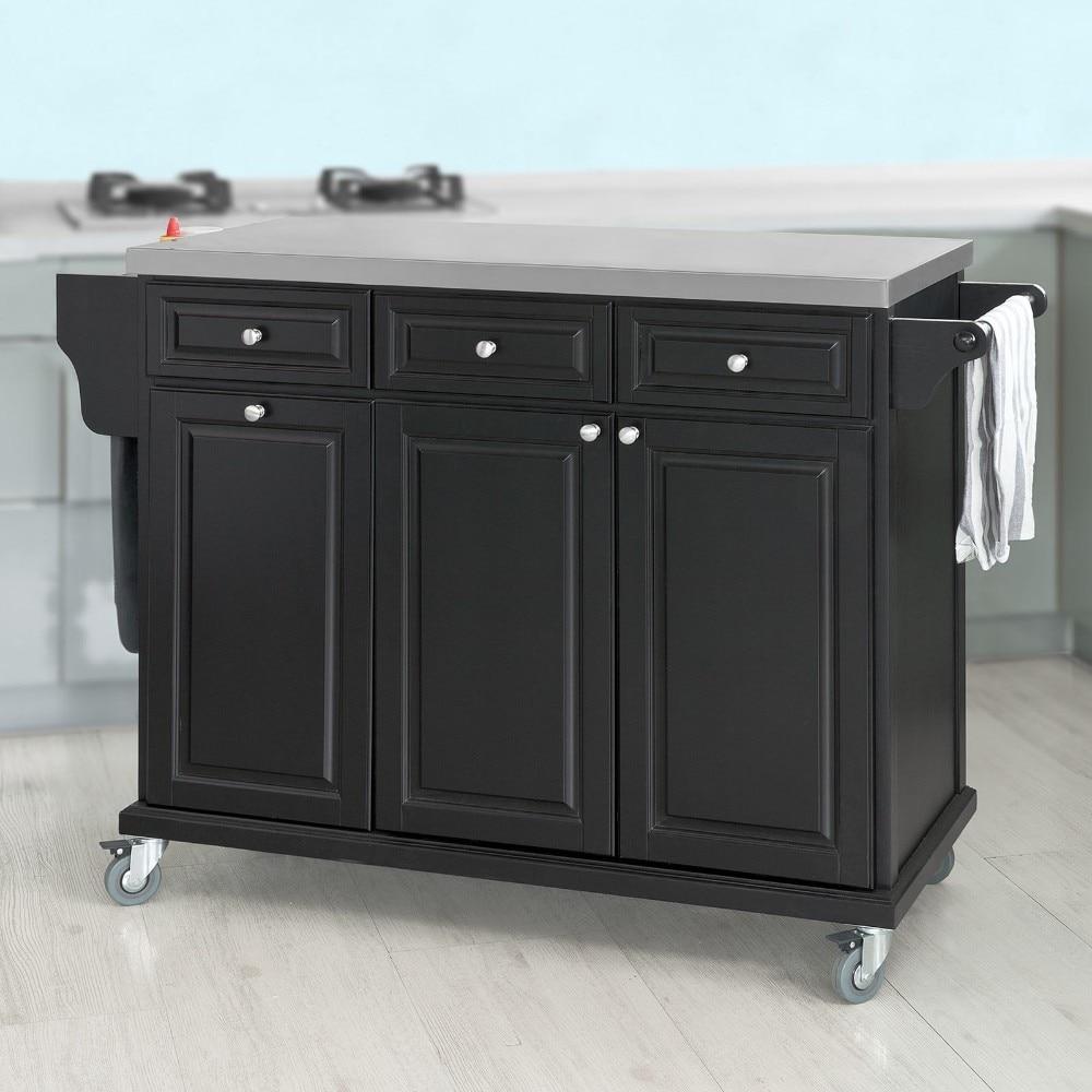 SoBuy FKW33-SCH, Black Luxury Kitchen Island Kitchen Storage Trolley Cart, Kitch