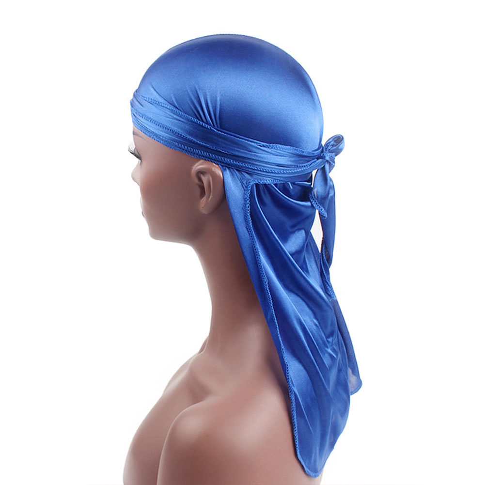Turban Hat Biker Durags Long-Tail Pirate Thin Headwear Bandanas Stretchable Satin Casual