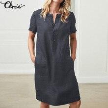 Plus Size Women Linen Shirt Dresses 2019 Celmia Summer Mini Dress Vintage  Cotton Short Sleeve Vestido 321652862e2c