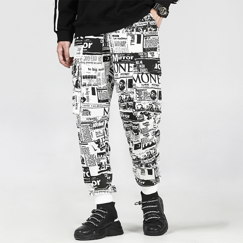 Élastique Taille Automne Nouveau Graffiti de Bande Dessinée Casual Panthot Vente 2018 Pleine Longueur Coton Peur Dieu Pantalon Militar Hommes Pantalon Lâche