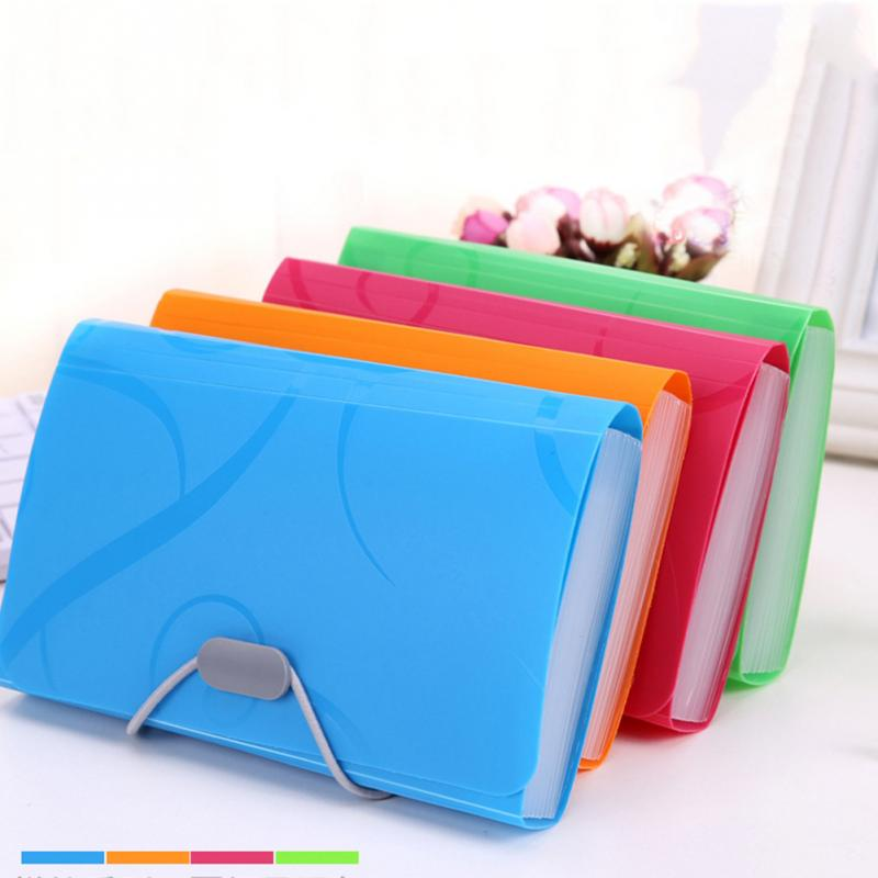 Plastic Candy Color File Folder Small Document Bags Expanding Wallet Bill Folders
